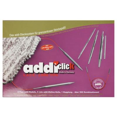 Спицы Addi Система addiClick LACE Long Tips набор круговых никелированных длинных спиц со сменными лесками (фото, вид 2)