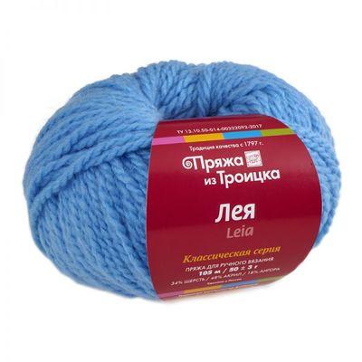 Пряжа Троицкая Лея (34% шерсть, 48% акрил, 18% ангора) 5х50г/105м цв.0300 св.голубой