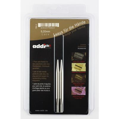 Аксессуары Addi Дополнительные спицы с удлиненным кончиком к addiClick LACE, никелированная латунь 6 мм