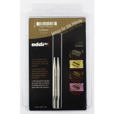 Аксессуары Addi Дополнительные спицы с удлиненным кончиком к addiClick LACE, латунь 5.5 мм