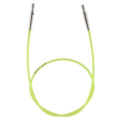 Аксессуары Knit Pro Тросик (заглушки 2шт, ключик) для съемных спиц, длина 35см (готовая длина спиц 60см), зеленый