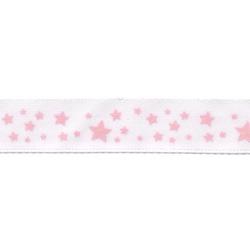 Gamma Атласная лента с рисунком шир. 12 мм, дл. 3 м белый/яр.розовый