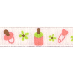 Gamma Атласная лента с рисунком B13/097 baby/розовый