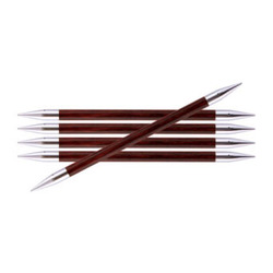 Спицы Knit Pro чулочные Royale 7 мм /20 см, ламинированная береза, бордовая роза, 5шт