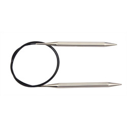 """Спицы Knit Pro круговые """"Nova Cubics"""" 5мм/100см, никелированная латунь, серебристый"""