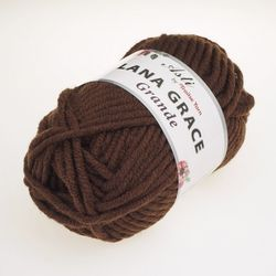Пряжа Троицкая LANA GRACE Grande (25% мериносовая шерсть, 75% акрил супер софт) 5х100г/65м цв.3806 коричневый
