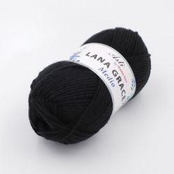 Пряжа Троицкая LANA GRACE Medio (25% мериносовая шерсть, 75% акрил супер софт) 5х100г/170м цв.0140 черный