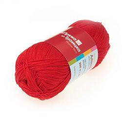 Пряжа Троицкая Алина (100% мерсеризованный хлопок) 10х50г/220м цв.0043 красный