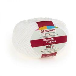 Пряжа Троицкая Детская (20% мериносовая шерсть, 80% акрил) 5х50г/145м цв.0235 супер белый