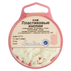 Аксессуары Hemline Кнопки пластиковые, 12,4 мм, цвет белый
