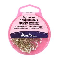 Аксессуары Hemline Булавки портновские особо тонкие со стеклянными головками, 41 мм, 100 шт, цвет белый