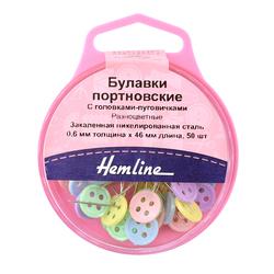 Аксессуары Hemline Булавки портновские с головками-пуговичками, 46 мм, 50 шт, разноцветные