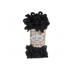 Пряжа Alize Puffy (100% микрополиэстер) 5х100г/9.5м цв.060 черный