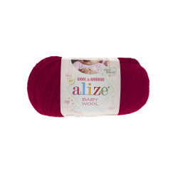 Пряжа Alize Baby Wool (20% бамбук, 40% шерсть, 40% акрил) 10х50г/175м цв.390 вишня