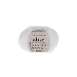 Пряжа Alize Merino Royal Fine (100% шерсть) 10х50г/175м цв.055 белый
