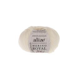 Пряжа Alize Merino Royal Fine (100% шерсть) 10х50г/175м цв.062 молочный