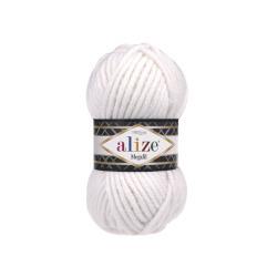 Пряжа Alize Superlana Megafil (25% шерсть, 75% акрил) 5х100г/55м цв.055 белый