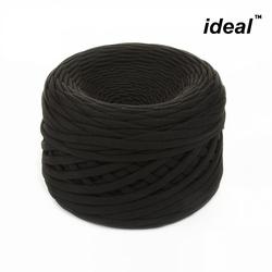Пряжа Ideal трикотажная лицевая 100м, 350-380 г, ширина 7-9мм цв. черный