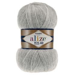 Пряжа Alize Angora Real 40 (40% шерсть, 60% акрил) 5х100г/480м цв.614 серый меланж
