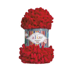Пряжа Alize Puffy Fine (100% микрополиэстер) 5х100г/14м цв.056 красный