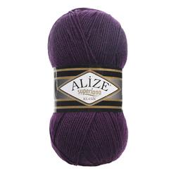 Пряжа Alize Superlana klasik (25% шерсть, 75% акрил) 5х100г/280м цв.388 пурпурный