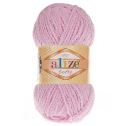 Пряжа Alize Softy (100% микрополиэстер) 5х50г/115м цв.185 детский розовый