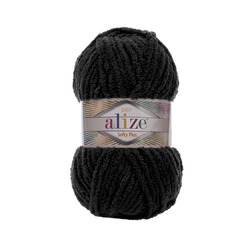 Пряжа Alize Softy Plus (100% микрополиэстер) 5х100г/120м цв.060 черный