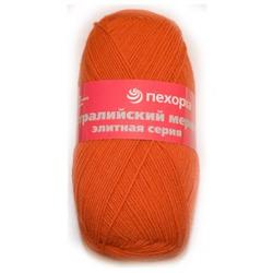 Пряжа Пехорка Австралийский меринос (95% мериносовая шерсть, 5% акрил высокообъемный) 5х100г/400м цв.189 ярк.оранжевый
