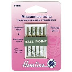 Иглы Hemline Для бытовых швейных машин с круглым кончиком для трикотажа