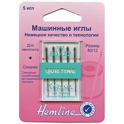 Иглы Hemline Для бытовых швейных машин квилтинг (медиум)