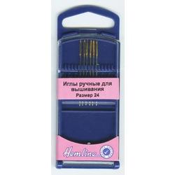 Иглы Hemline Иглы для вышивания с закруглённым кончиком в пластиковом контейнере №24