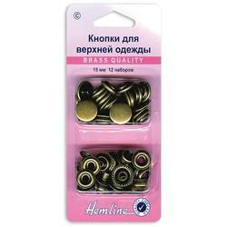 Аксессуары Hemline Кнопки для верхней одежды, 15мм, старая бронза