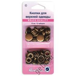 Аксессуары Hemline Кнопки для верхней одежды, 15мм, бронза