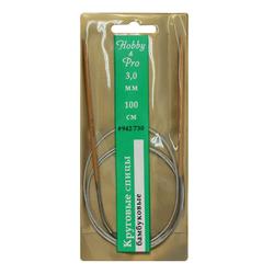 Спицы Hobby&Pro круговые с металлическим тросиком, бамбук