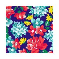 Ткань Бязь красная роза и синие цветы