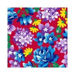 Ткань Бязь плательная, голубая роза и сиреневые цветы