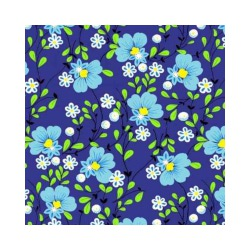 Ткань Бязь плательная, голубые цветы на синем фоне