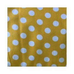 Ткань Бязь плательная 150,белый горох на желтом