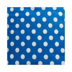 Ткань Бязь плательная 150, белый горох на голубом