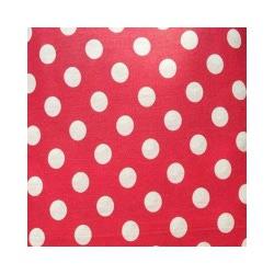 Ткань Бязь плательная 150, белый горох на красном