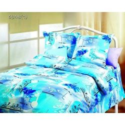 Ткань Бязь синие цветы на св. бирюзовым фоне