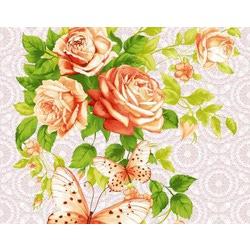 Ткань Ваф.полотно 50см, розы и бабочка