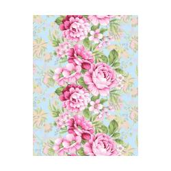 Ткань Ваф.полотно 50см, розовые розы