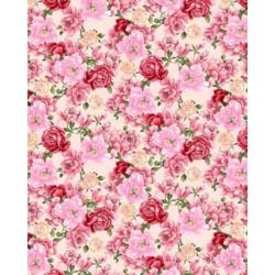 Ткань Рогожка полотенечная, розовые цветы