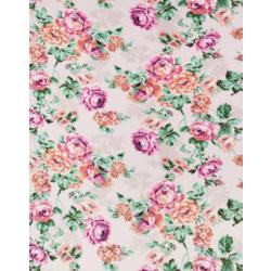 Ткань Рогожка скатертная, цветы на св. бежевом