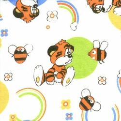 Ткань Фланель белоземельная, тигренок с пчелой