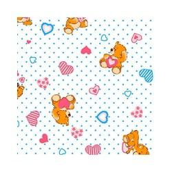 Ткань Ситец детский 95 см Гост, мишка и сердечко