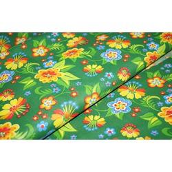 Ткань Ситец плательный 80 см ж-оранж. цв. на зеленом