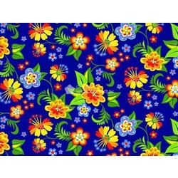 Ткань Ситец плательный 80 см. цветы на синем фоне