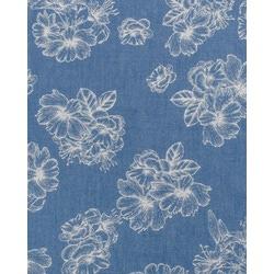 Ткань Джинс принт, белые цветы на голубом